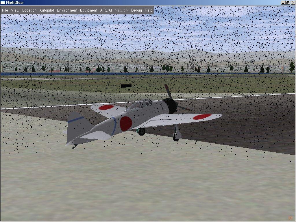 FlightGear ver.1.9.0 の黒い雨