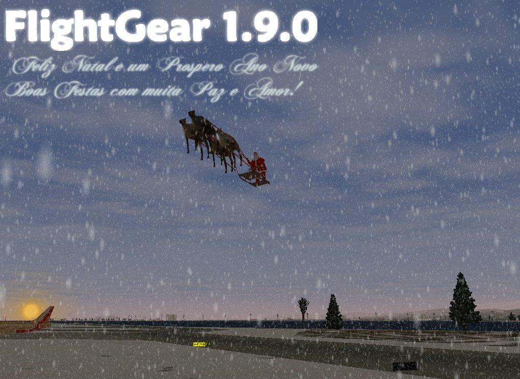 FlightGear 1.9.0 雪とサンタクロース