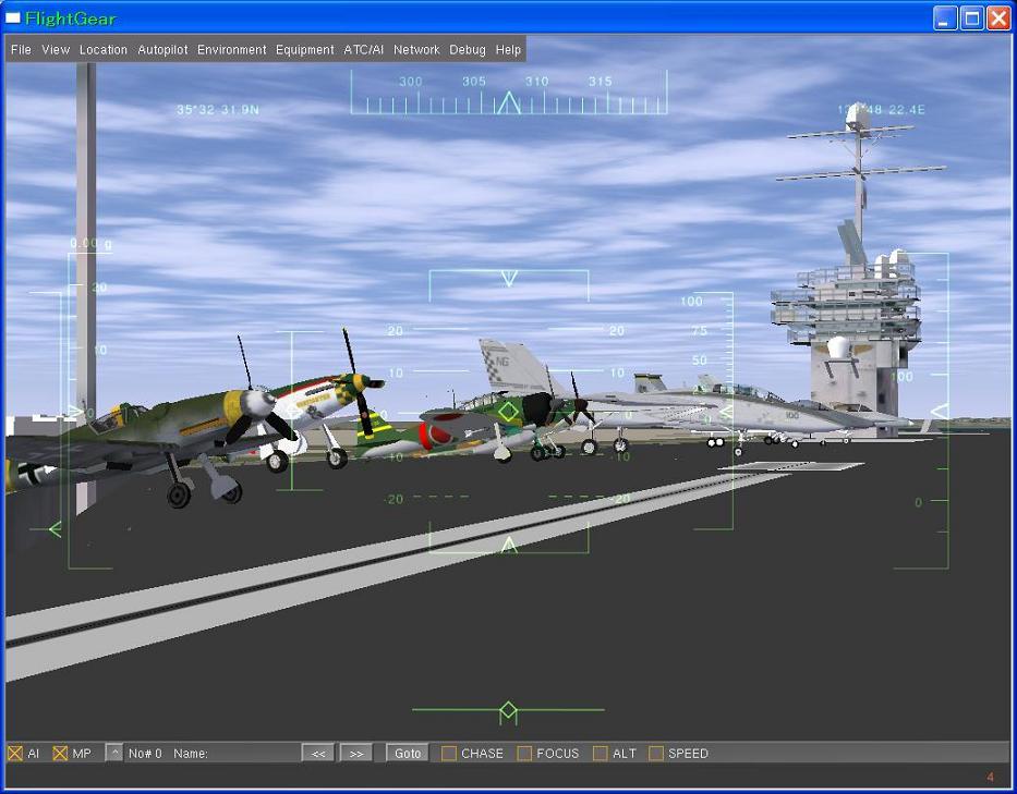 AI機の尾輪接地
