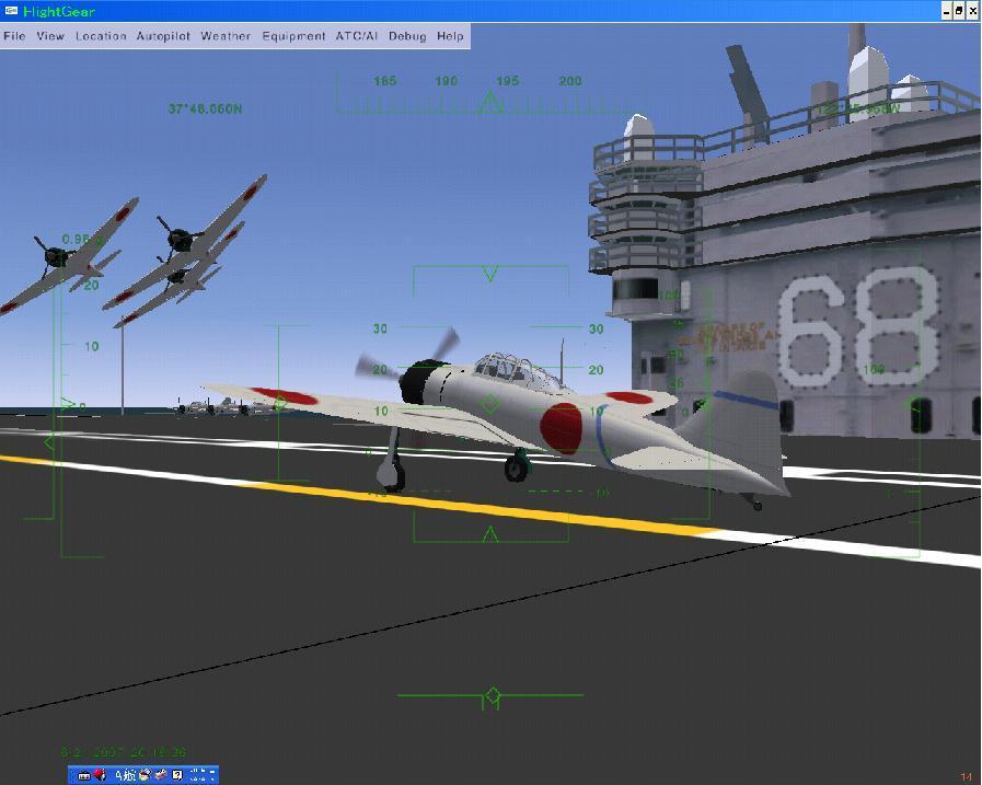 AIゼロ戦が空母上空をフライパス