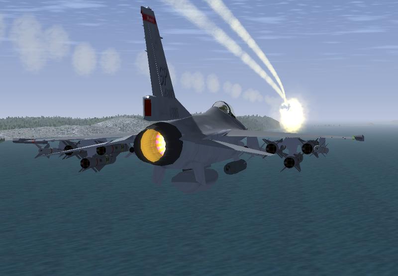 誘導ミサイルを発射するF-16