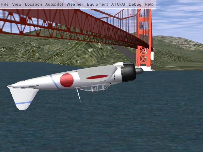 ゴールデンゲートブリッジ背面飛行